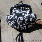 Handmade Fantasy Black Kiss Clasp Coin Purse, Change Purse, Coin Pouch with White Filigree, Swirls